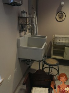 An original sink, crib, and other items from The Cradle.